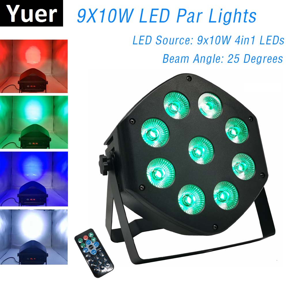 LED Par Light 9X10W DJ LED RGBW Par Light Dj Projector Wash Disco Light DMX Controller Effect For Small Party KTV Stage Lighting