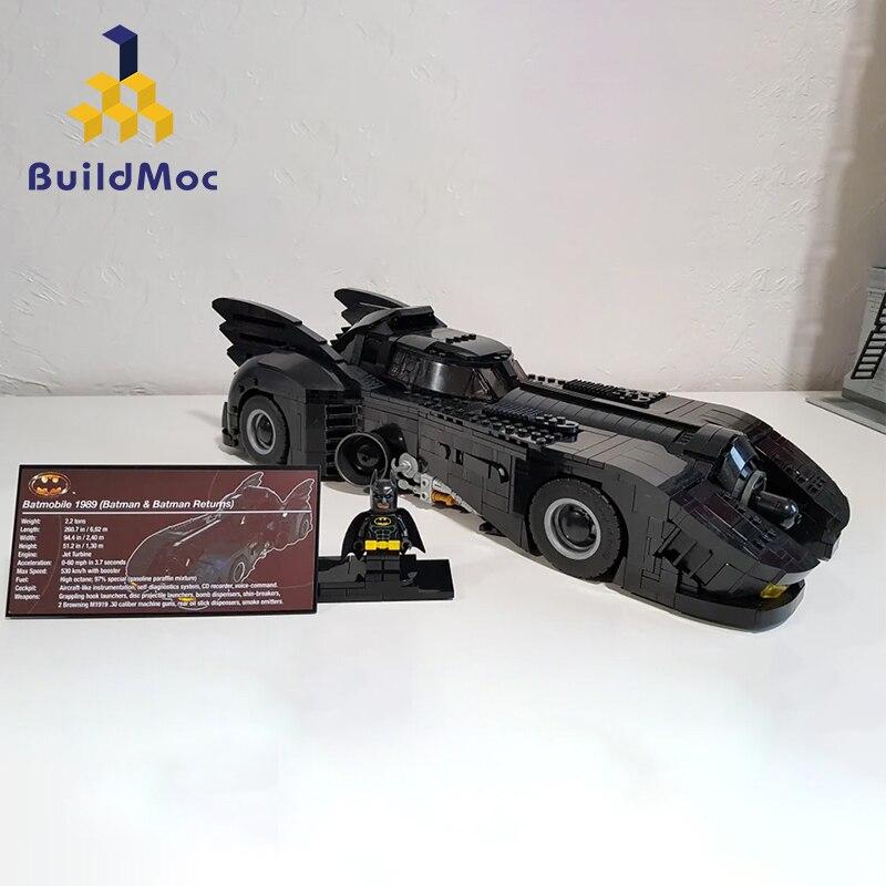 BuildMoc Liga de la justicia Batman UCS Batmobile 1989 Final 30 Diecasts vehículos de juguete modelo de coche juguetes para niños C105