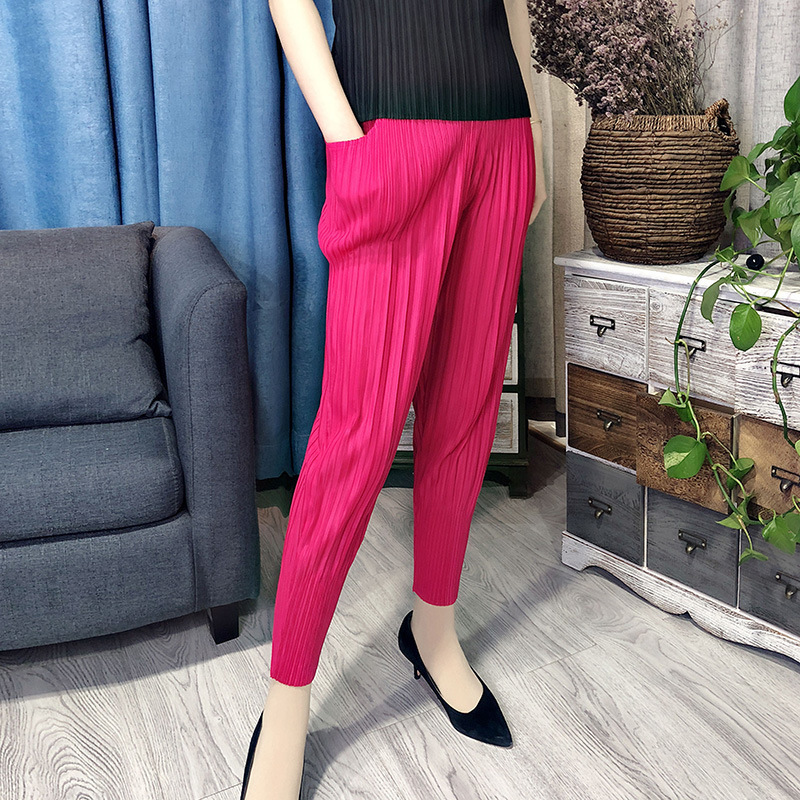 LANMREM 2020 New Spring And Summer Fashion Pleated Vintage Clothes High Waist Pleated Full Length Elastic Female Pants WK68405