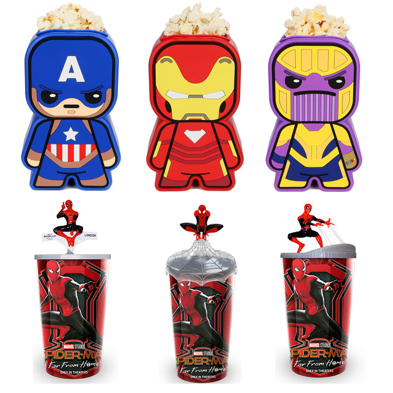 Original Marvel Aavengers 4 3 Ironman Spiderman Thanos figurine tasses Marvel Spiderman Thor eau tasse pop-corn baril jouets pour Funs