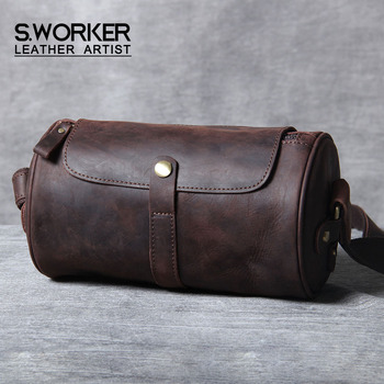 S.WORKER Vintage Genuine Leather Shoulder Bag Cowhide Mini Crossbody Bag Men's Crazy Horse Leather Fashion Women Bucket Bag