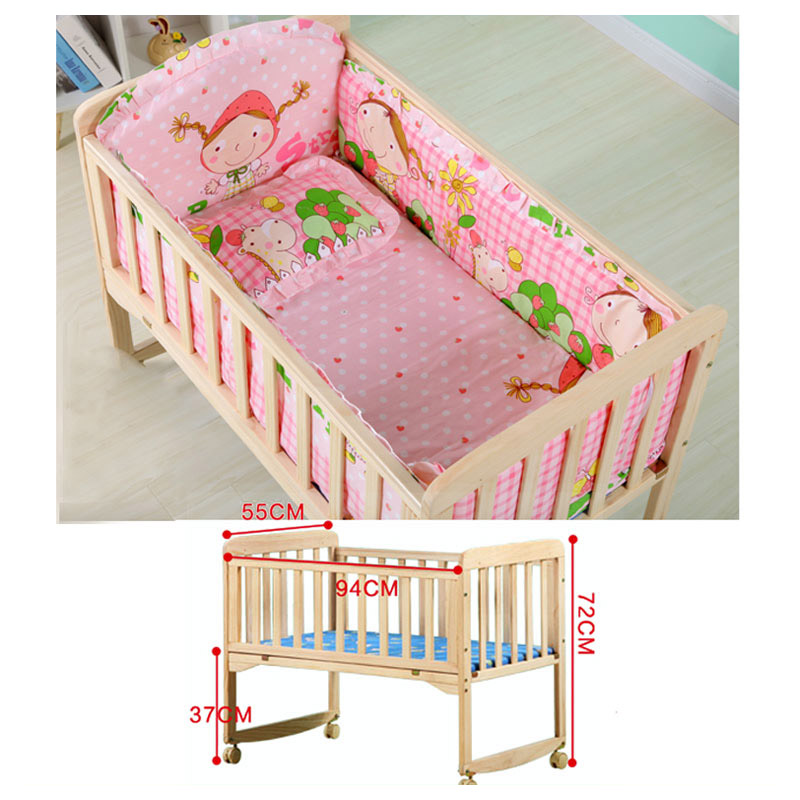 Baby Wooden Crib With Mosquito Net Baby Rocking Crib With Roller Newborn Infant Game Bed Computer Table Baby Cot Bedding Set