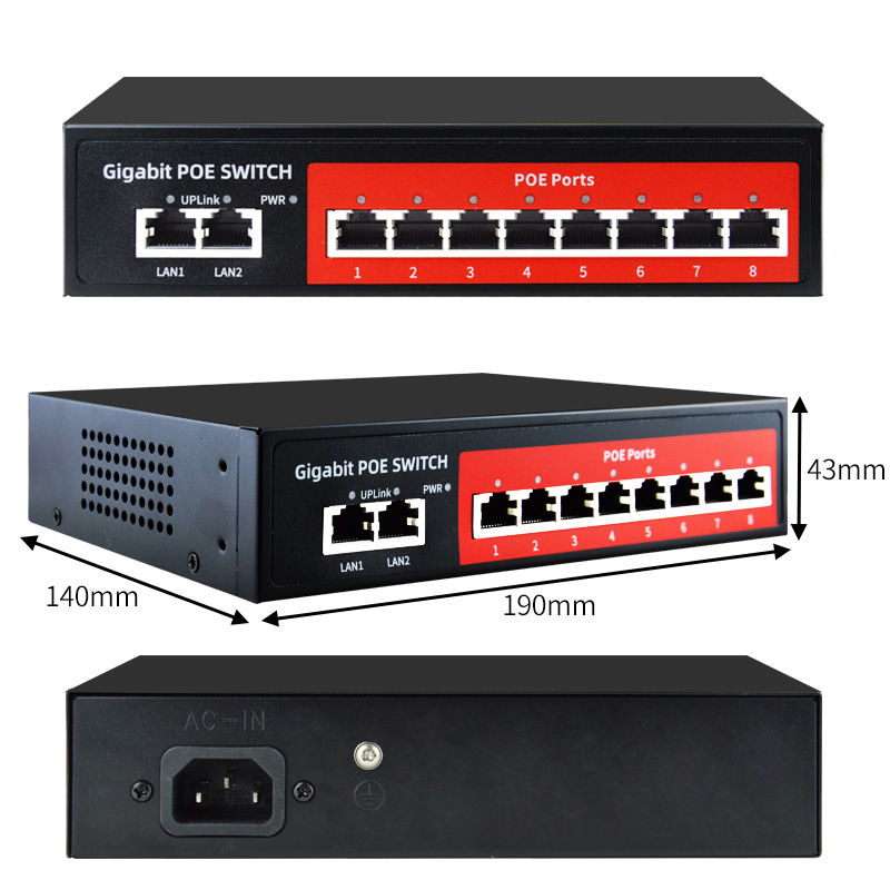 SZSSCEE Gigabit 10 port  Poe Switch support Ieee802.3af/at Ip cameras and Wireless AP 10/100/1000Mbps standard network switch