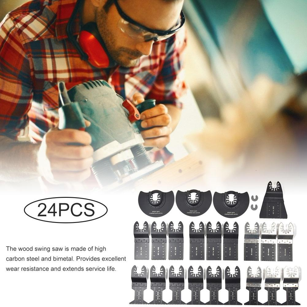24PCS Oscillating Saw Cutters Universal Multi Tool Quick Release Saw Cutters Kit Cutting Oscillating Tool For Metal Wood Plastic