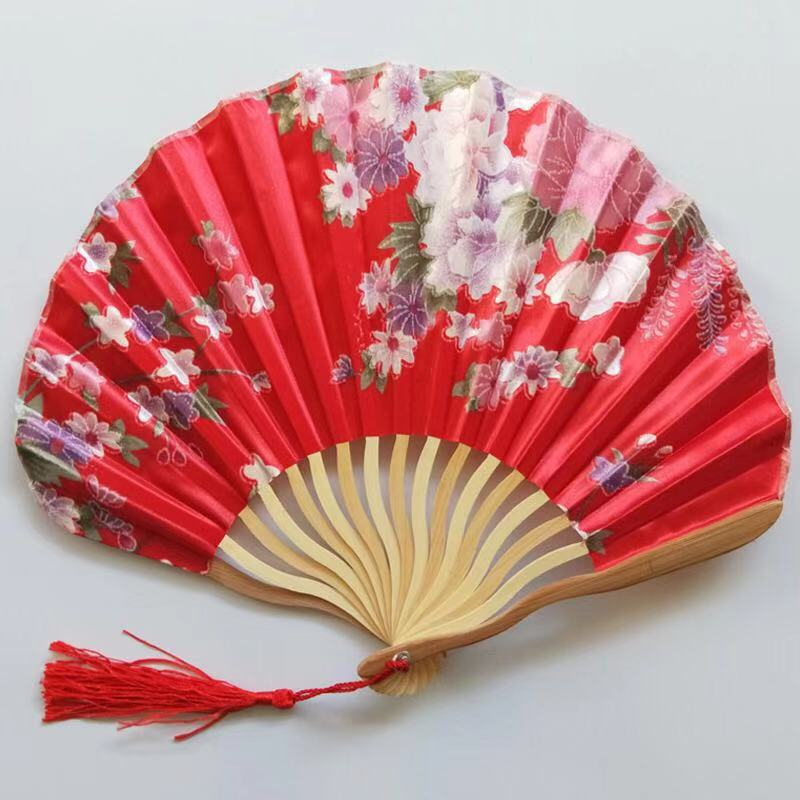 Vintage Chinese Hand Held Silk Folding Flower Curved Bamboo Handle Decor Fan