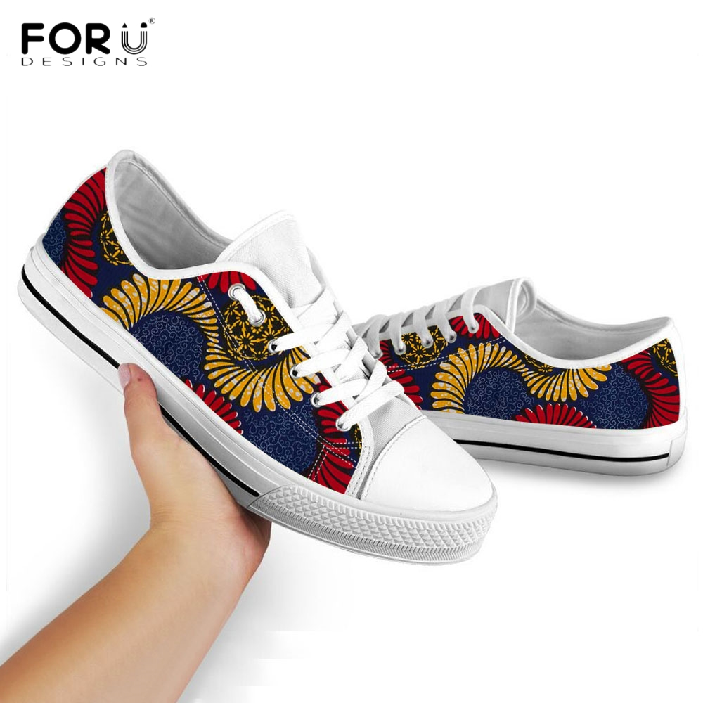 FORUDESIGNS Tribe African Floral Pattern Women Low Top Canvas Shoes Casual Spring/Autumn Lace Up Sneakers Breath Female Footwear