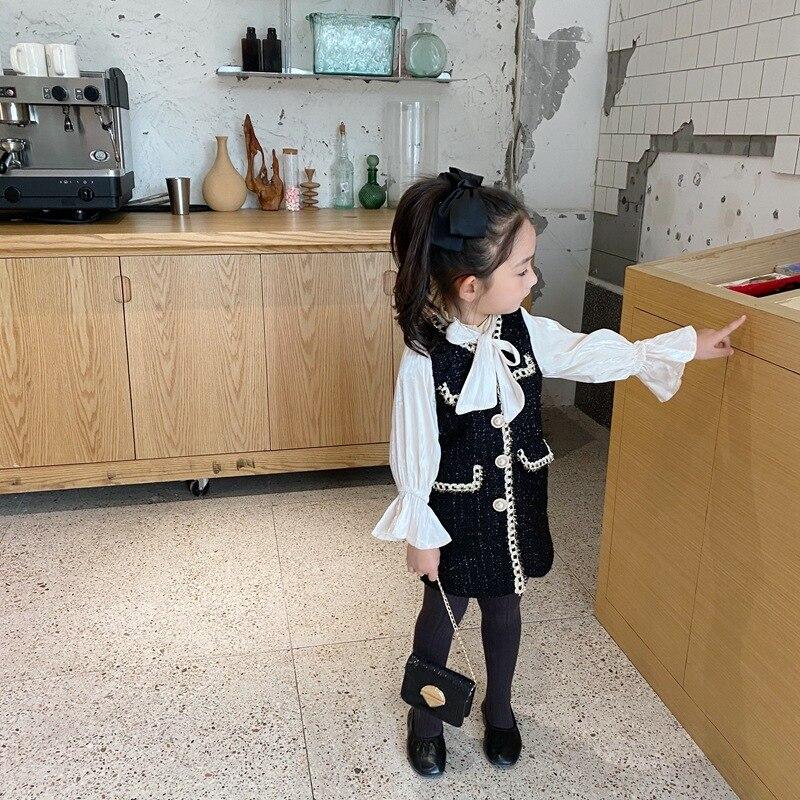 2020 Autumn New Arrival Girls Fashion Tweed Dress Kids Long Sleeve  Dresses  Girls Princess Dress 1