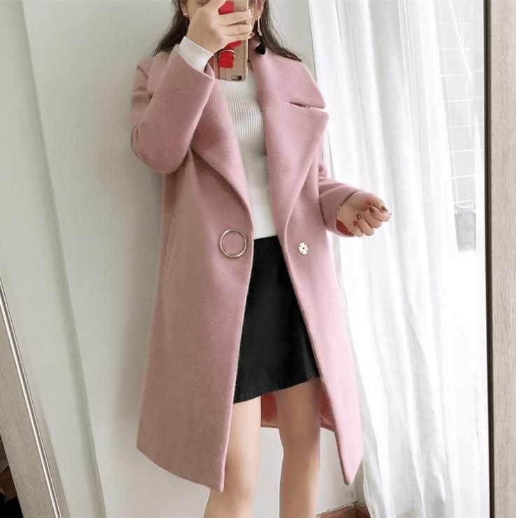 Frauen Mantel Streetwear Drehen-unten Kragen Frauen Kleidung Koreanische Wolle Mantel Weibliche Weiße Woolen Mäntel Jacke