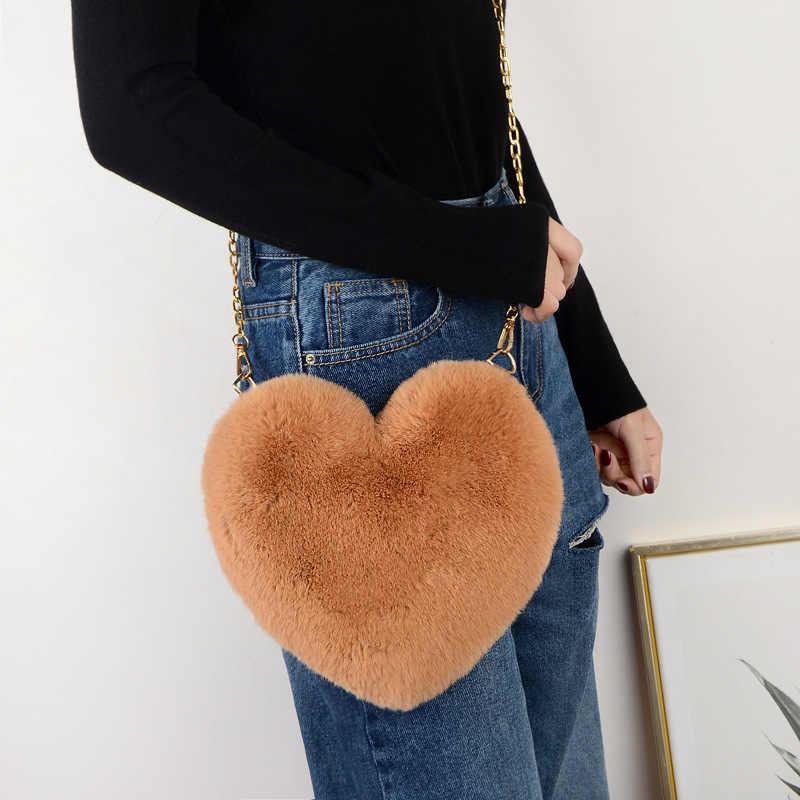 Mode Faux Pelz Crossbody Geldbörse Kette Schulter Tasche Dame Handtasche frauen Herz Geformt Tasche Designer Taschen