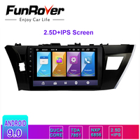 Funrover 2.5D+ IPS Android 8.0 Car Multimedia player 2 din car radio dvd for Toyota Corolla 2014 2016 gps navigation stereo RDS