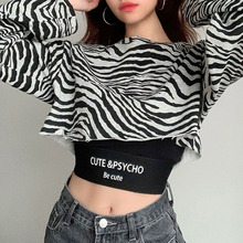 Streetwear Zebra Print Crop Sweat Suits Sweatshirt And Strap Letter Camis Top Two Piece Set 2020 Tracksuit Women Outfits Female