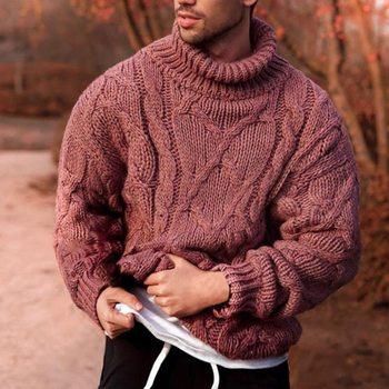 Nowa moda jesień sweter męski sweter miękki i wygodny sweter sweter gruby ciepły sweter męski sweter z golfem tanie i dobre opinie WENYUJH CN (pochodzenie) Grubej wełny Na co dzień Mieszkanie dzianiny Modalne Poliester Stałe O-neck Swetry Pełna REGULAR
