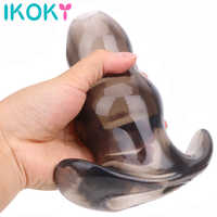 IKOKY 3 Sizes Hollow Anal Plug Soft Speculum Prostate Massager Butt Plug Enema Sex Toys For Woman Men Anal Dilator Sex Products