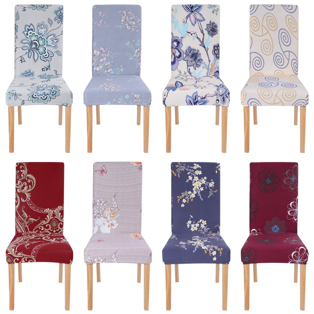 1/2/4/6Pcs Printed Elastic Chair Cover Dining Spandex Stretch Removable Slipcovers For Dining Room Banquet Wedding Kitchen