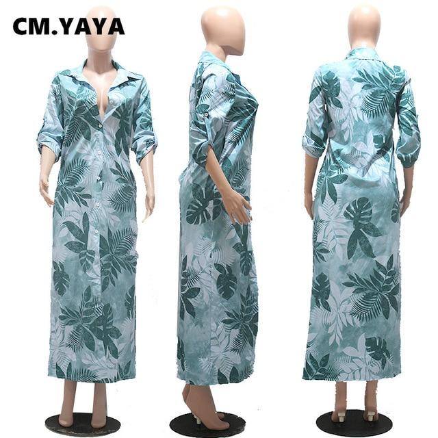 CM.YAYA Women Dress Half Sleeve Turn-down Collar Single Breasted Loose Straight Long Dress Office Lady Street Fashion Outfit 2