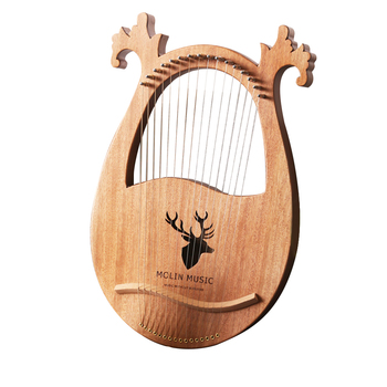 Gift Solid Wood Lyre Harp Entertainment Musical Instrument Party Kids Toy Deer Shaped Clear Sound 6 Strings Concave Design