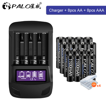 PALO 1.2V AA rechargeable battery aa+AAA battery rechargeable aaa 1.2v Ni-MH battery+smart charger AA AAA battery charger rechargeable 4 8v 700mah 4 x aaa ni mh battery pack