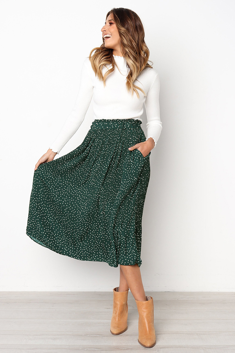 H6bdb356bb6ec45f0a91af7bb03d57371o - Summer Casual Chiffon Print Pockets High Waist Pleated Maxi Skirt Womens Long Skirts For Women
