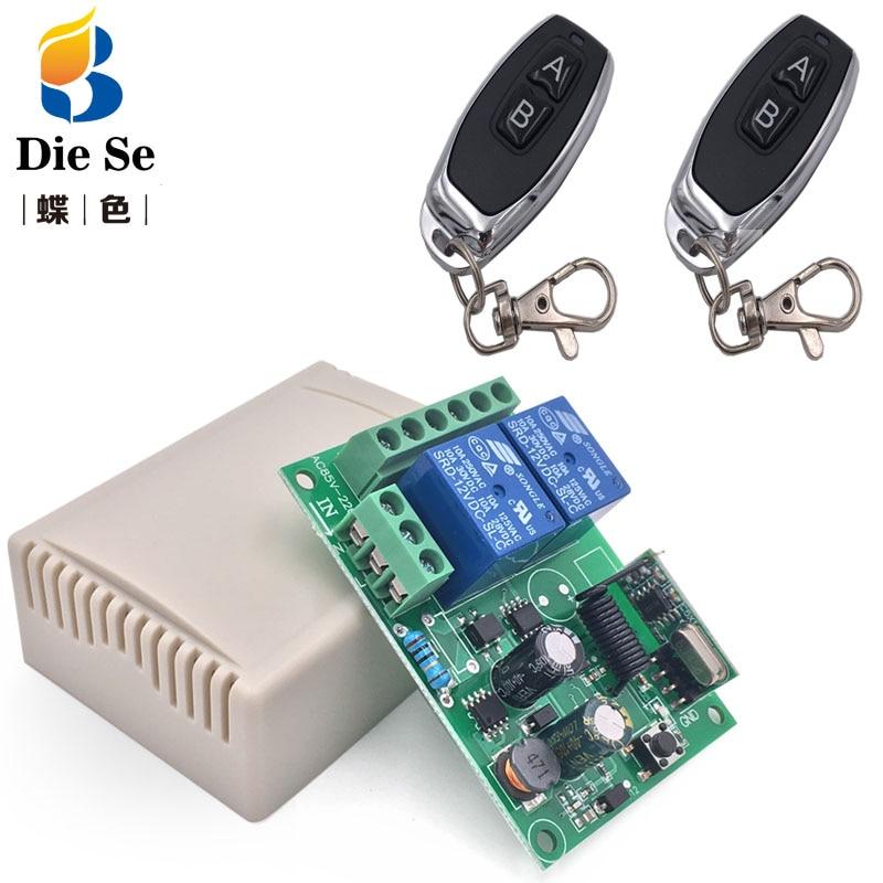 433 mhz universal controle remoto sem fio ac220v 2ch rf relé receptor e transmissores para garagem universal e controle de luz