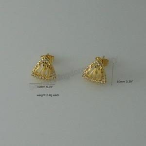 Image 5 - Минимальный заказ 10 $ можно смешивать/3 стиля милые мусульманские Бог цветок растение форма желтое золото Серьги GP CZ камень Ислам Арабский