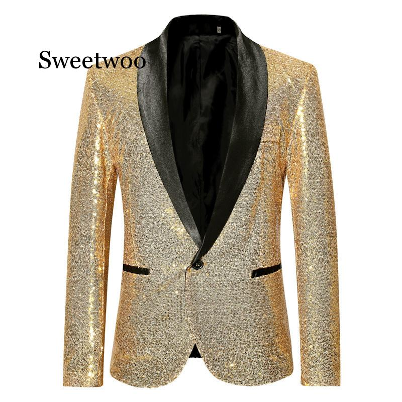 2020 New Men's Large Size Casual Sequins One Button Suit Mens European American Dress Gold Jacket Clothes Autumn Spring Red Gold