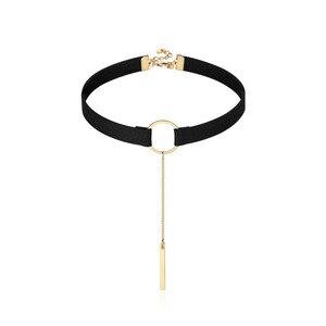 Трендовые корейские круглые ожерелья с кулоном, Золотое колье с кисточкой, ожерелье, черный кожаный шнур, цепочка для ключицы, Короткий воро...