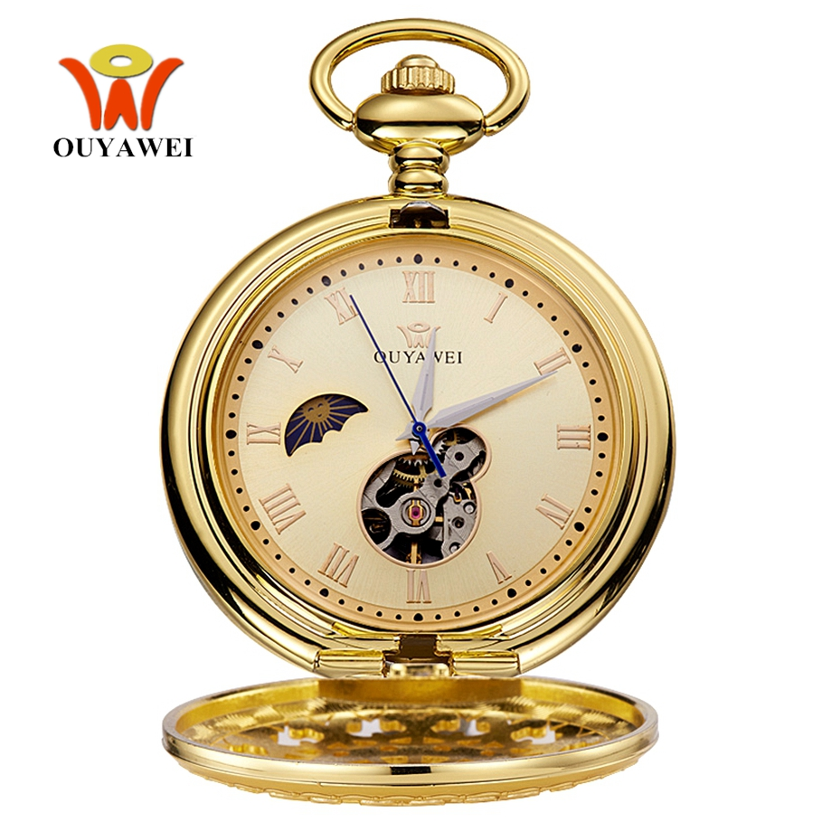 OYW Brand Hand Winding Mechanical Luxury Gold Men Pocket Watch Vintage Skeleton Dial Necklace Pendant Male Chain Watches Gifts
