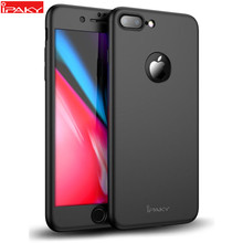 Untuk iPhone SE 2020 Case IPAKY Luxury Full Body Case untuk iPhone 6 6S 7 Plus dengan Tempered Glass 360 Case untuk iPhone 8 8 Plus Case(China)