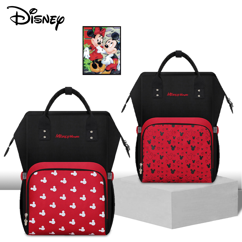 Disney Minnie Mickey Mouse Moms Bags Maternity Diaper Bag USB Heating Bag Mummy Large Capacity Nappy Backpack For Baby Care