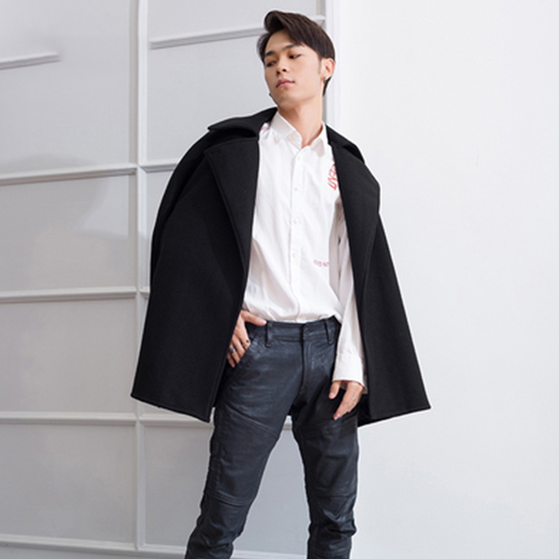 M-4XL winter lapel tide men's men's coat cloak cape long woolen student windbreaker woolen cape coat loose