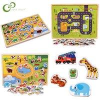 子供木製磁気パズル動物と交通車両ゲーム子供ベビー早期教育学習のおもちゃジグソーパズルzxh