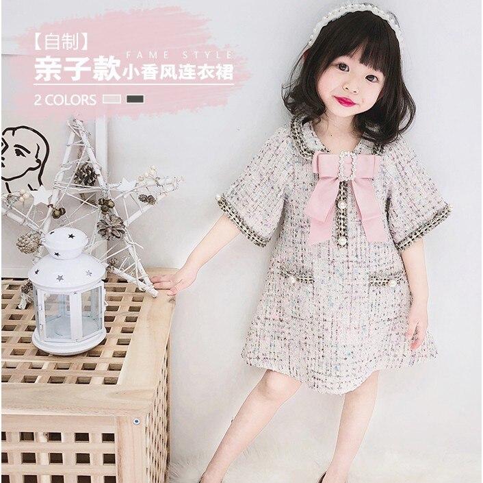 Robes de mère et fille de Style japonais printemps automne bébé filles collier de poupée demi manches perles robe en laine vêtements de famille P83 - 3