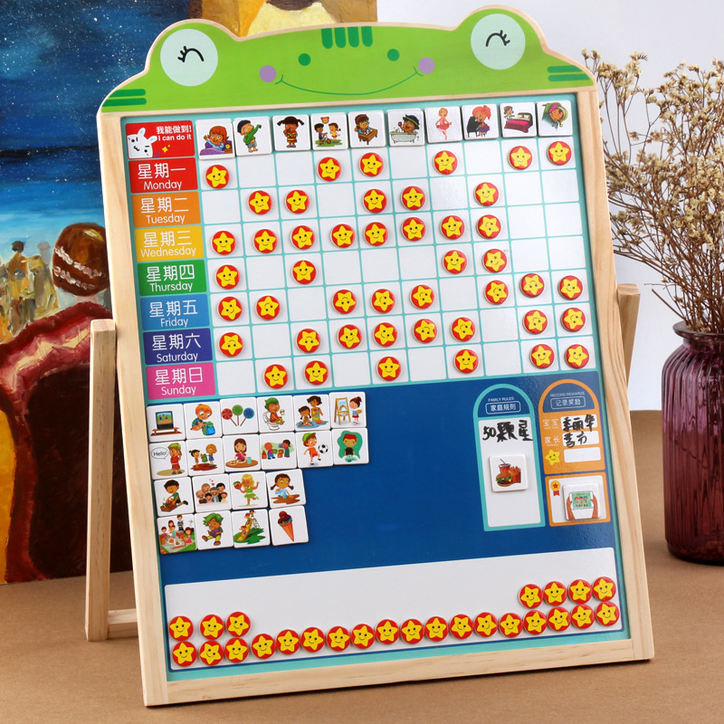 CHILDREN'S Learning Habits Plan Self-Discipline Table Children Wood Multi-functional Double-Sided Magnetic Braced Drawing Board
