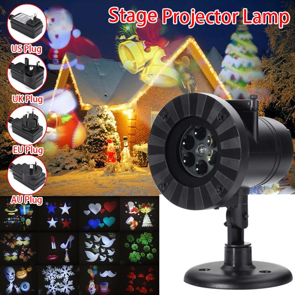 LED Moving 12 Patterns Garden Laser Projector Lamp Light Xmas Outdoor US plug