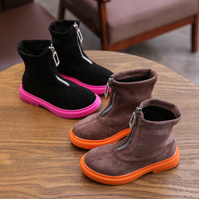 Winter Boys Girls Boots Genuine Leather Anti-suede Martin Boots Zipper Retro Warm Cotton Boots
