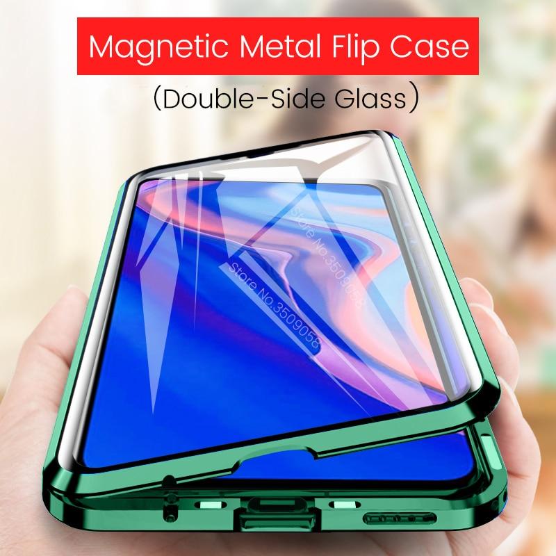 Étui pour huawei à rabat magnétique 360 ° p smart z smartz psmartz psmart z couvercle de pare-chocs en métal de verre double sise hauwei y9 prime 2019