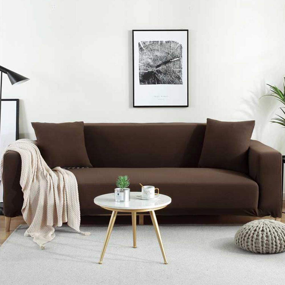 Fleece Sofa Cover Waterproof Solid Color Sofa Covers for Living Room Armchairs Stretch Covers Non-Slip Soft Furniture Protector 6