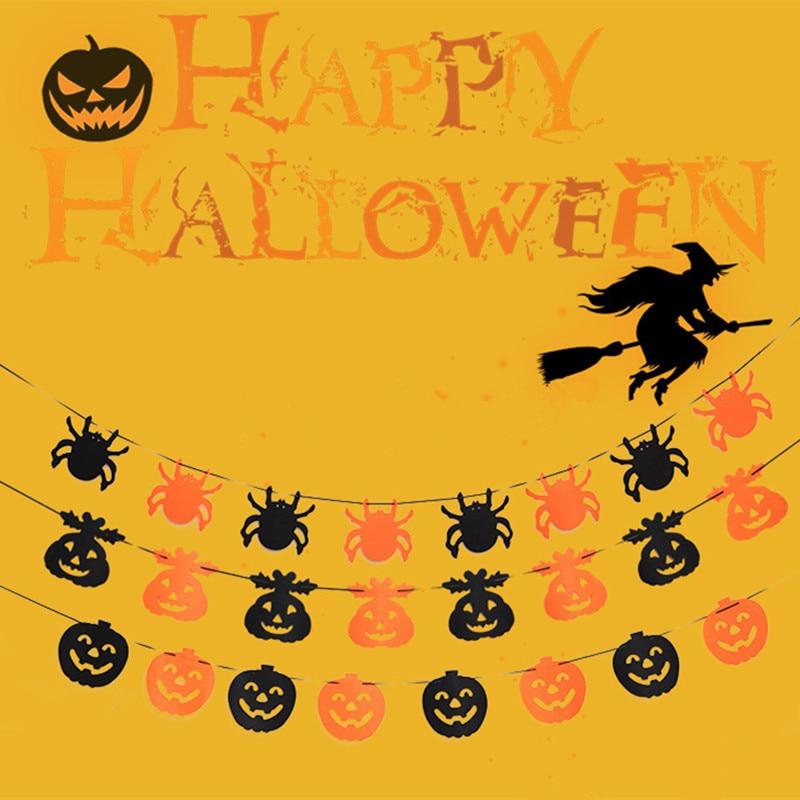 Paper Chain Garland Party Banner Event Decorations Pumpkin Bat Ghost Spider Skull Shape Halloween Banners Decor Garland