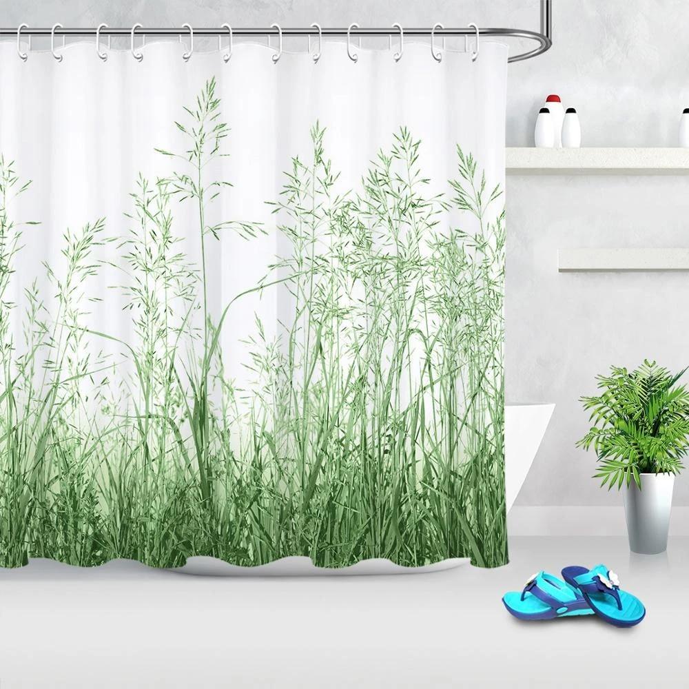 spring green plant shower curtain set hooks bathroom accessories polyester bath shower mildew resistant waterproof home decor