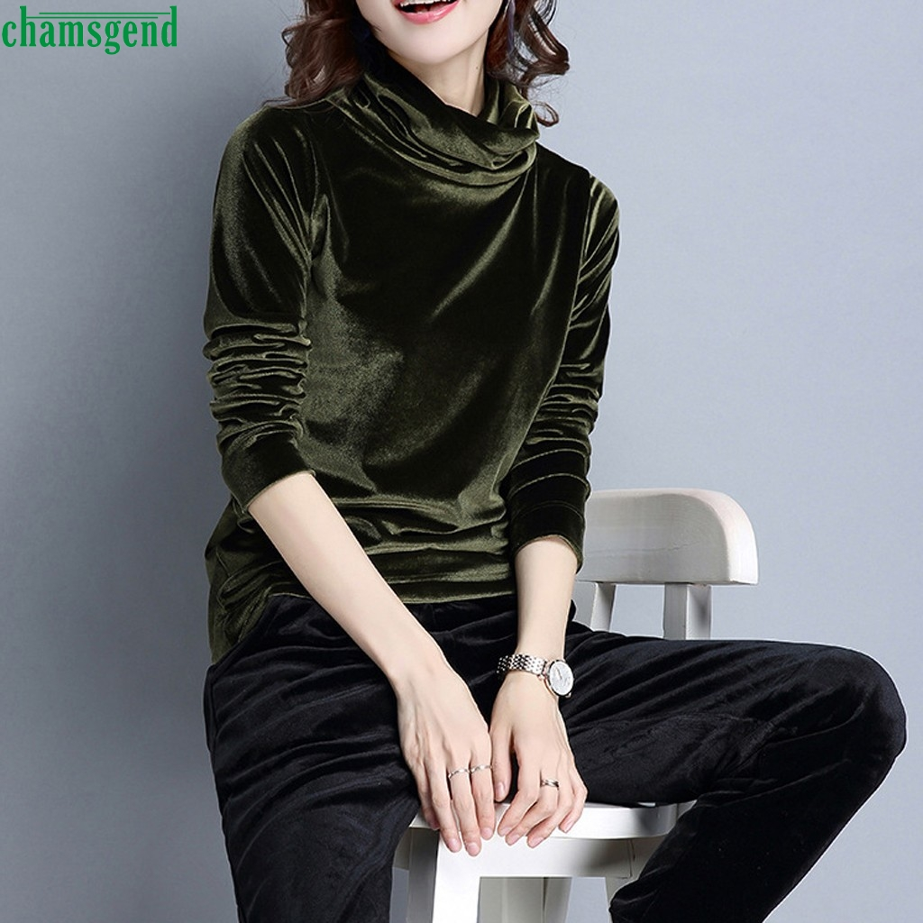 Chamsgend Women's Autumn Winter Velvet Blouse Fashion Solid Color Turtleneck Top Casual Basic Warm Pullover Blusa De Terciopelo