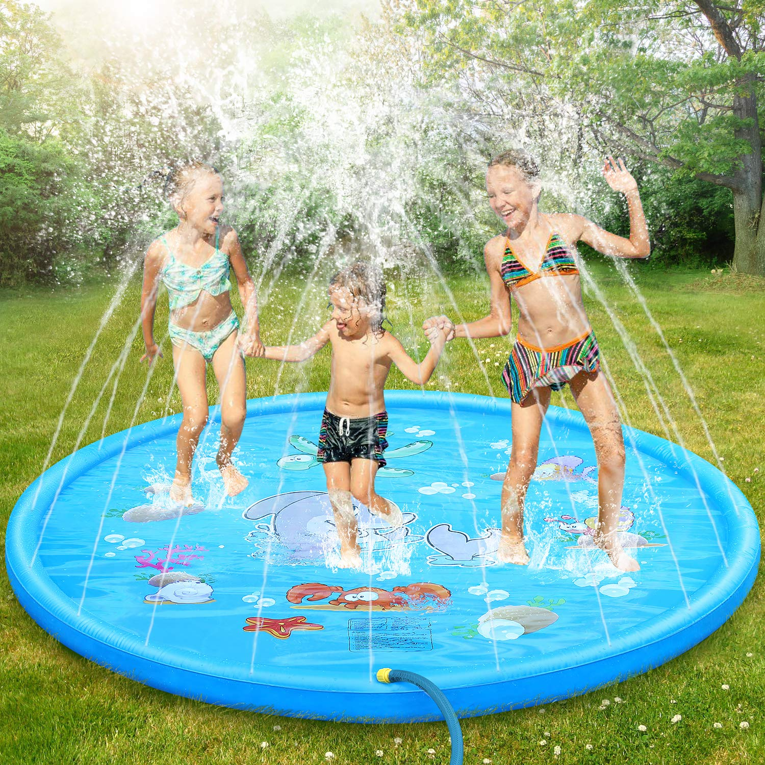 Splash Pad Burst Sprinkle Splash Play Mat For Kids Fun Splash Play Mat Summer Outdoor Party Water Toy Extra Large Sprinkler Pool