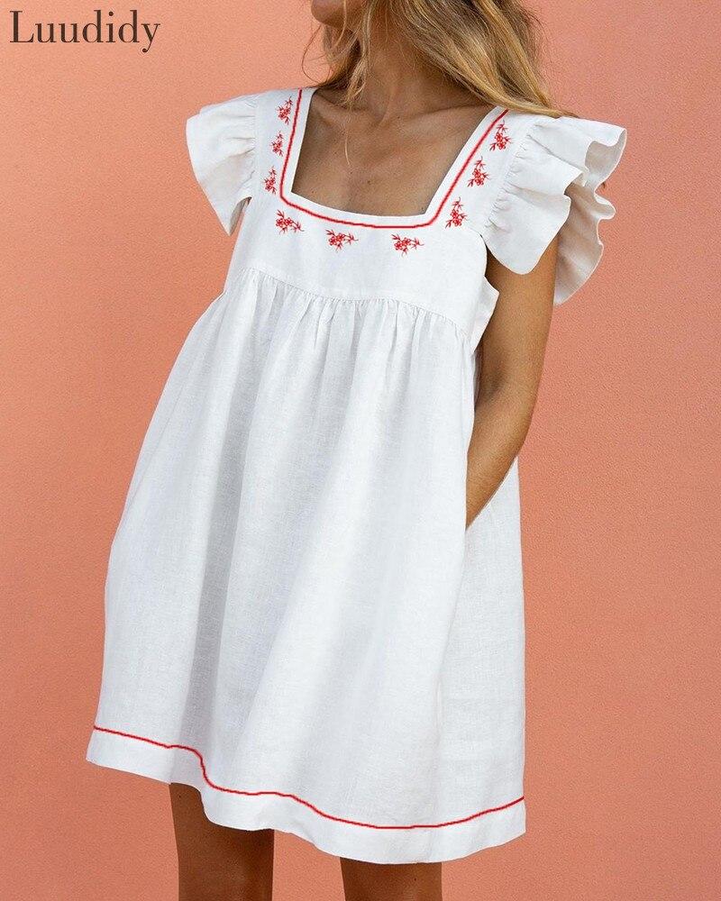 Women Summer White Dress Square Neck Sundress Lady Casual Ruffles Puff Sleeve Mini Dress