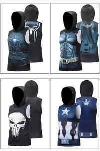 Жилет с капюшоном «Капитан Америка», «Супермен», «Бэтмен», эластичная футболка без рукавов для фитнеса, мужские рубашки для тренировок, муж...