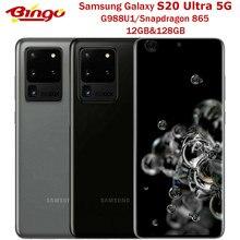 Samsung galaxy s20 ultra 5g 128gb rom g988u1 desbloqueado telefone móvel snapdragon 865 octa núcleo 6.9