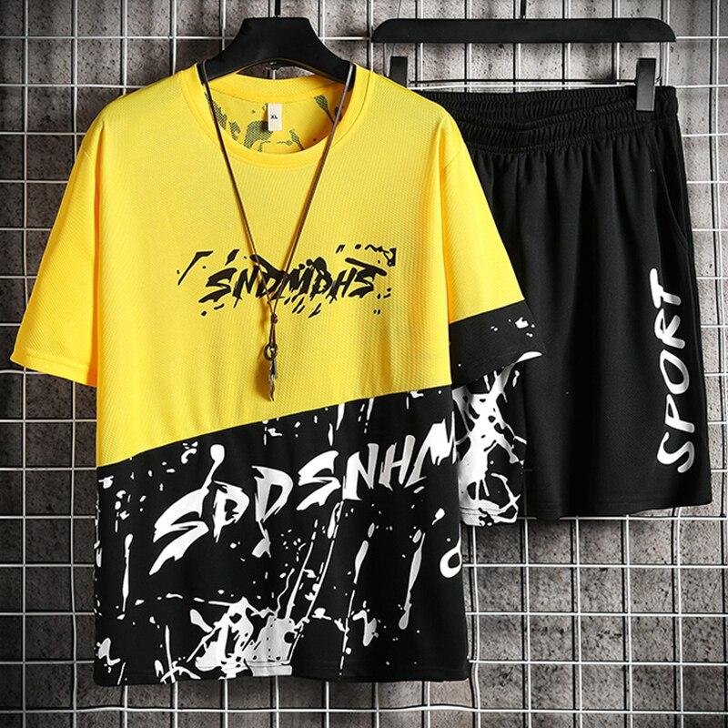 Conjunto de calções de verão 2021 moda fitness terno moda impressão camiseta + shorts sportwears 2 peça define masculino jogger agasalho