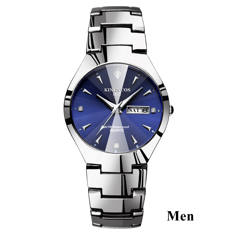 Часы для влюбленных Роскошные Кварцевые наручные часы для мужчин и женщин Hodinky Dual Calender Week steel Saat Reloj Mujer Hombre парные часы - Цвет: Men Silver Blue