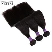 "Neitsi Rechte Machine Gemaakt Remy Human Hair Extensions 14 "" 40"" 100 g/stk Natuurlijke Zwart Gekleurd Haar Weave inslag Bundels"
