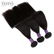"Neitsi Straight Machine Made Remy Human Hair Extensions 14"" 40"" 100g/pc Natural Black Colored Hair Weave Weft Bundles"