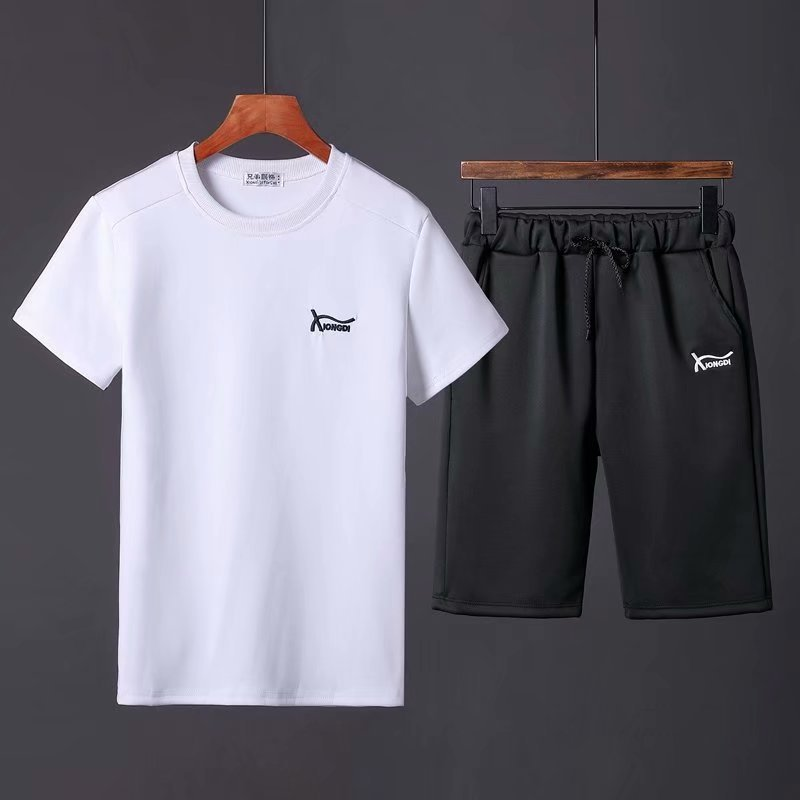 Summer Sports Clothing Set Men Running Gym Basketball Quick-Drying Loose-Fit Casual Short Sleeve Shorts Two-Piece Set