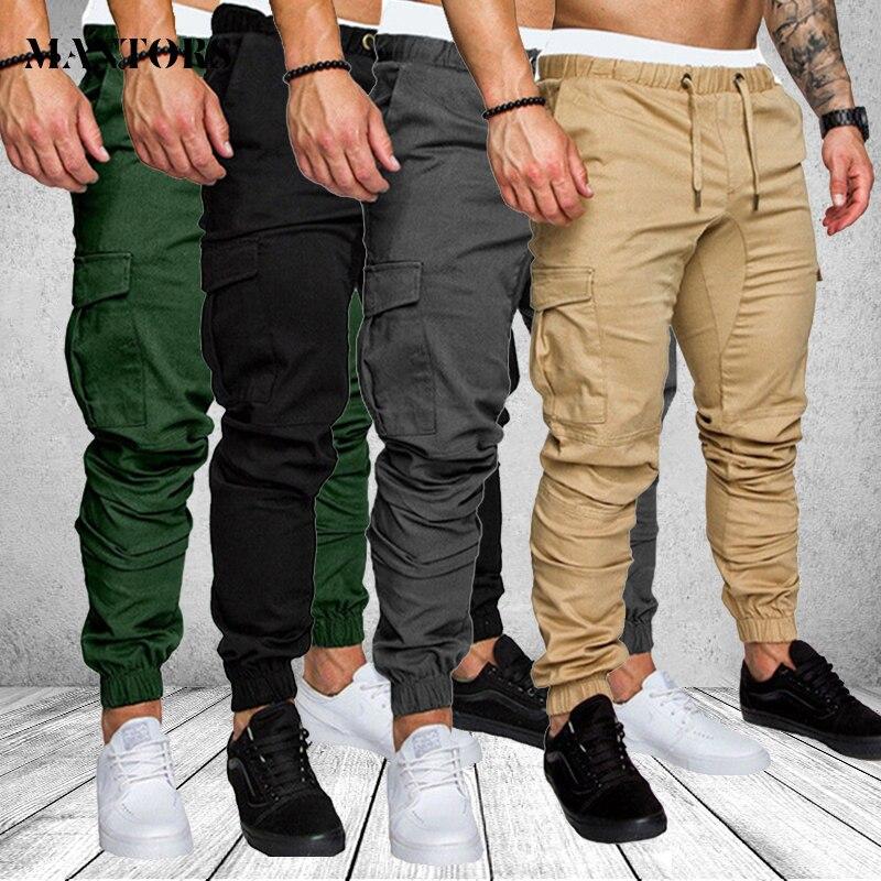 Cargo Pants Men Casual Sweatpants Solid Gray Black Gyms Fitness Workout Pants Jogger Mens Multi-pocket Sportswear Trousers Male